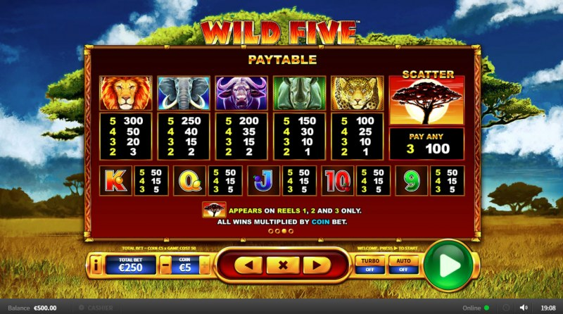 Wild Five :: Paytable