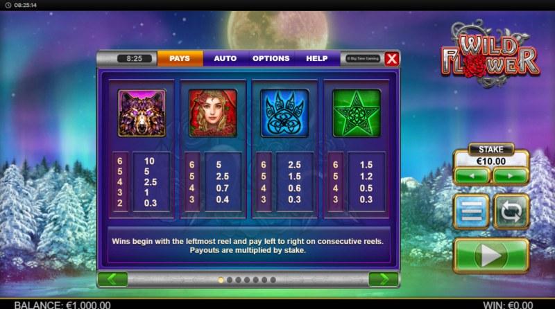 Wild Flower :: Paytable - High Value Symbols