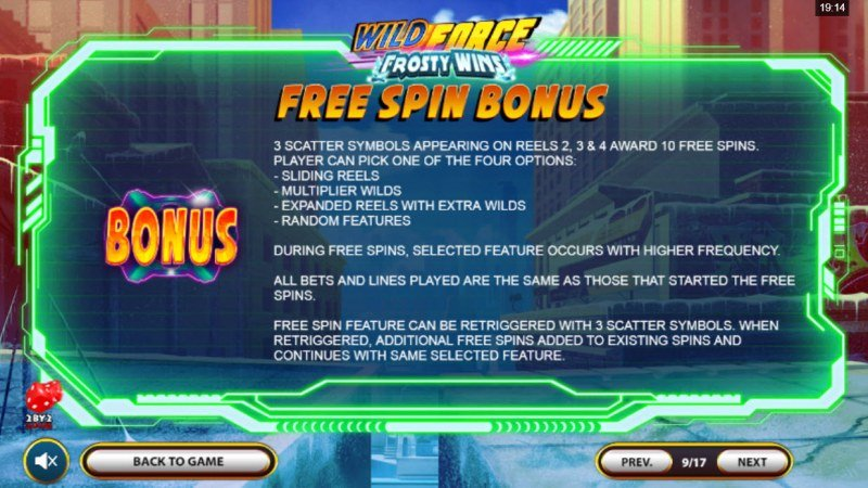 Wild Force Frosty Wins :: Free Spin Feature Rules