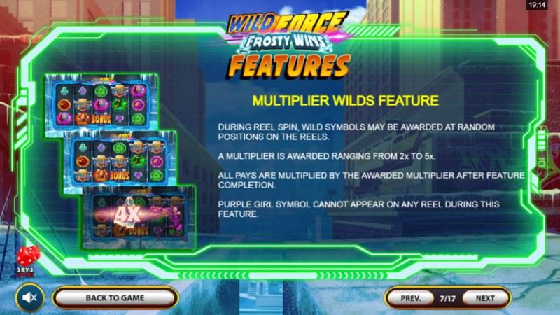 Wild Force Frosty Wins :: Multiplier Wilds Feature