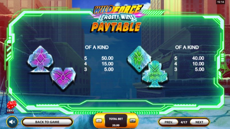 Wild Force Frosty Wins :: Paytable - Low Value Symbols