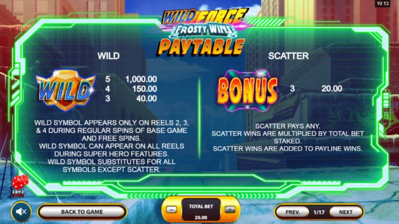Wild Force Frosty Wins :: Wild and Scatter Rules