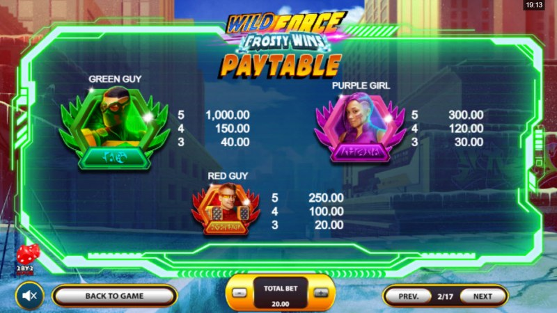 Wild Force Frosty Wins :: Paytable - High Value Symbols