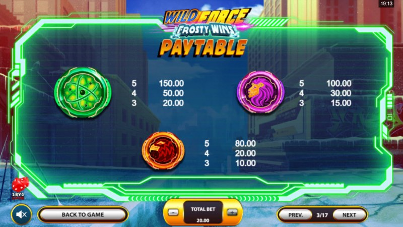 Wild Force Frosty Wins :: Paytable - Medium Value Symbols