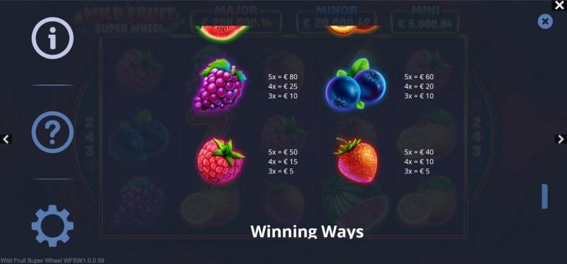 Wild Fruit Super Wheel :: Paytable - Low Value Symbols