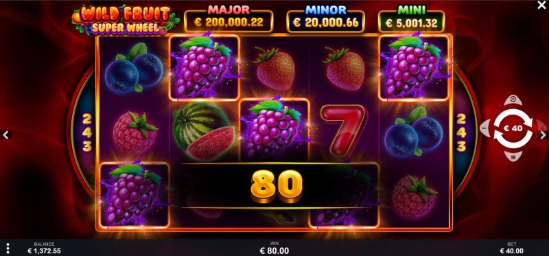 Wild Fruit Super Wheel :: A five of a kind win
