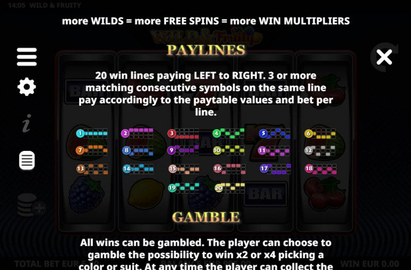 Wild & Fruity :: Paylines 1-20