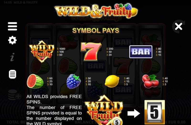 Wild & Fruity :: Paytable