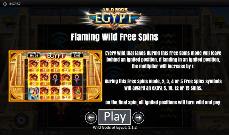 Wild Gods of Egypt :: Flaming Wild Free Spins