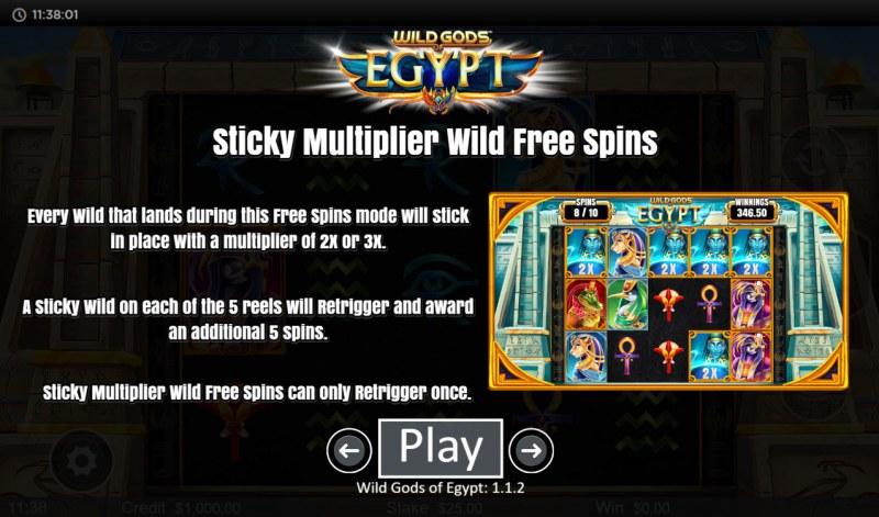 Wild Gods of Egypt :: Sticky Multiplier Wild Free Spins
