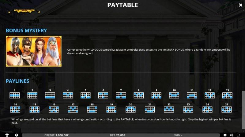 Wild Gods :: Paylines 1-25