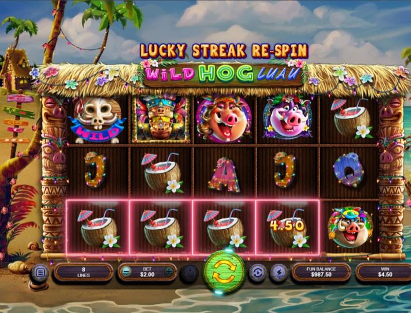 Wild Hog Luau :: A four of a kind win