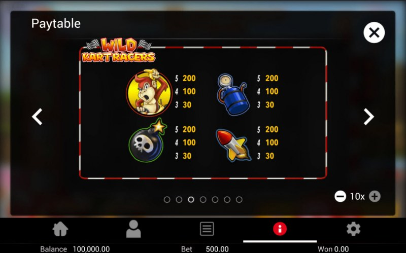 Wild Kart Racers :: Paytable - Low Value Symbols