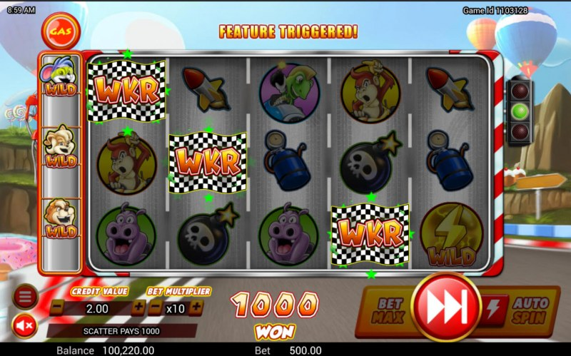 Wild Kart Racers :: Scatter symbols triggers the free spins bonus feature