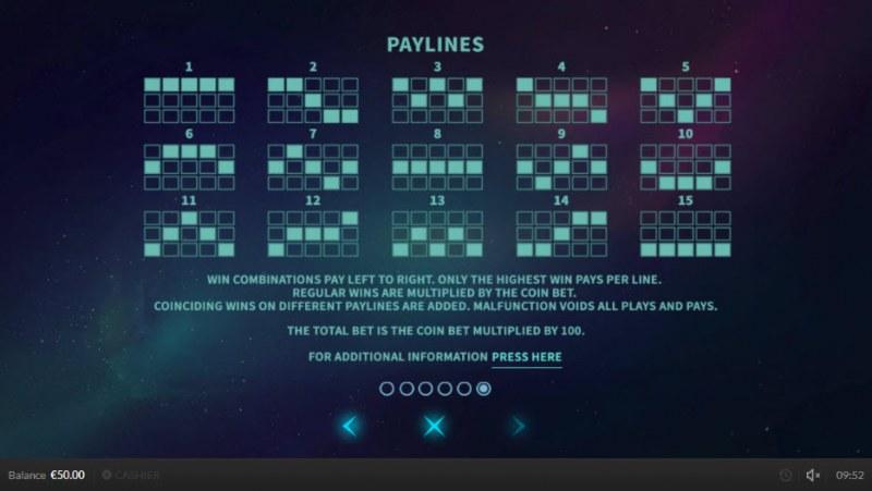 Wild Meteors :: Paylines 1-15