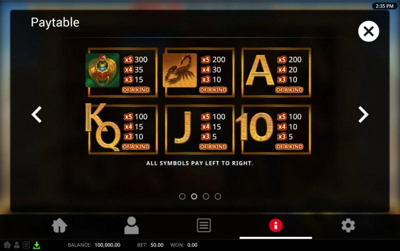 Wild Pharaoh :: Paytable - Low Value Symbols