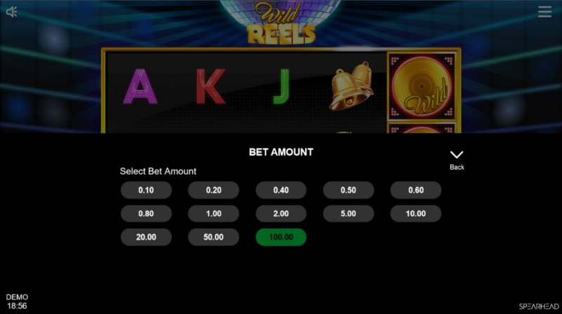 Wild Reels :: Available bet amounts