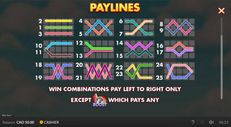 Wild Ride :: Paylines 1-25