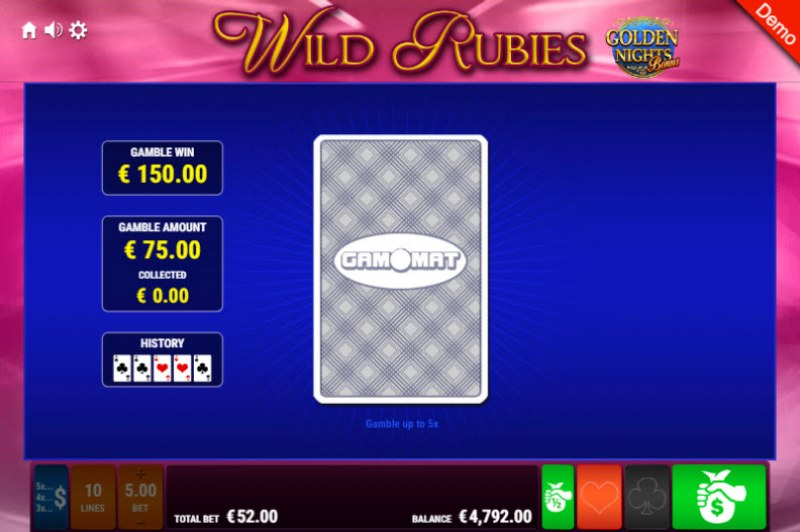 Wild Rubies Golden Nights Bonus :: Red or Black Gamble Feature