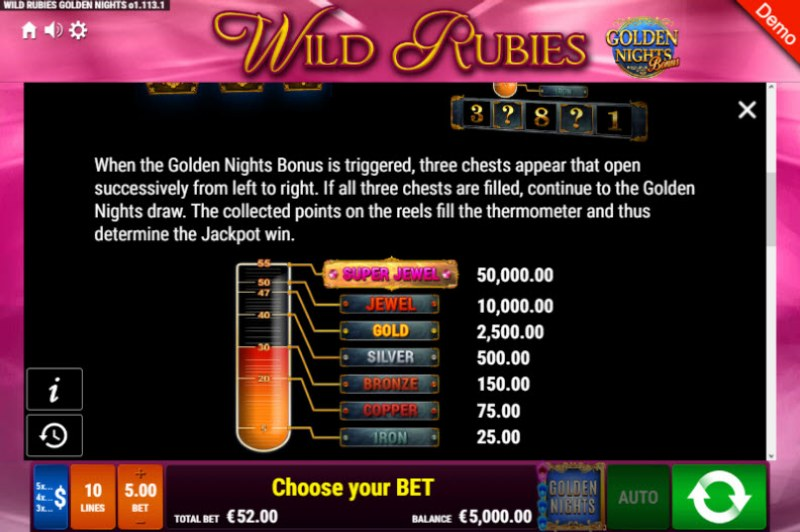 Wild Rubies Golden Nights Bonus :: Bonus Game Rules