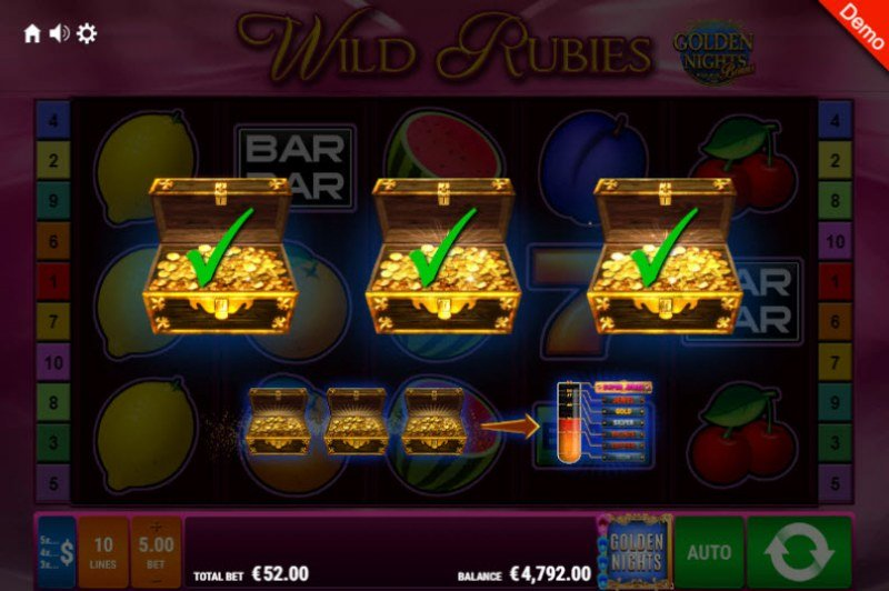 Wild Rubies Golden Nights Bonus :: Golden Night Bonus randomly activates during any spin