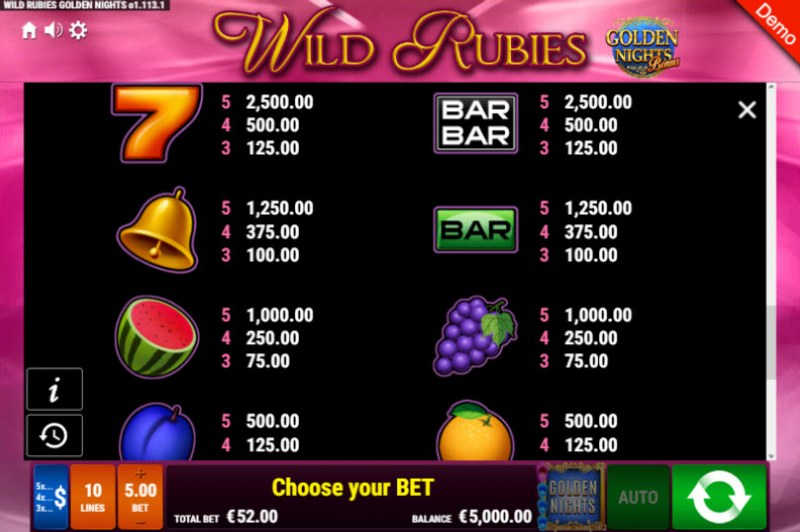 Wild Rubies Golden Nights Bonus :: Paytable