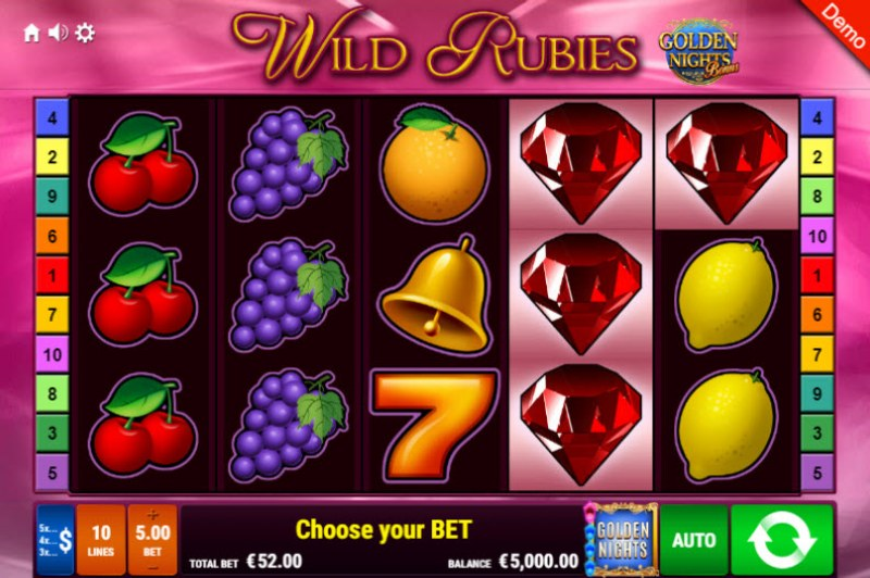Wild Rubies Golden Nights Bonus :: Main Game Board