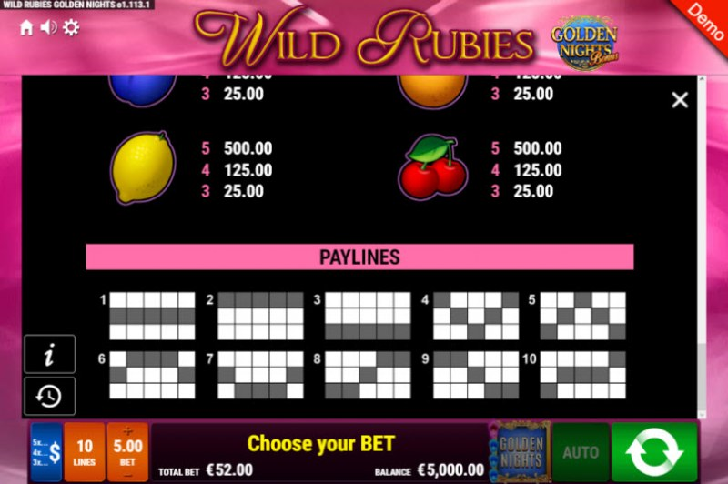 Wild Rubies Golden Nights Bonus :: Paylines 1-10