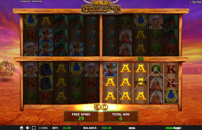 Wild Stallion :: Free spin are played on the board that triggered the free spins