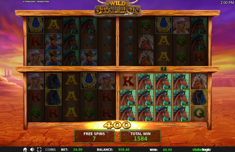 Wild Stallion :: Stacked symbols triggers a big win