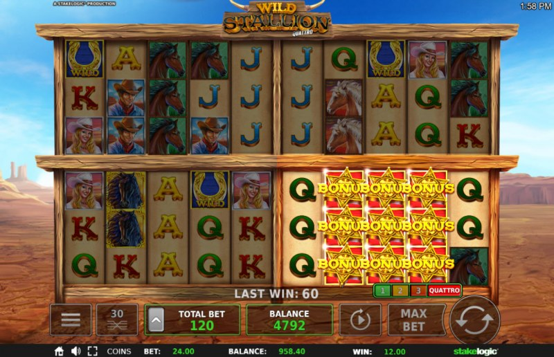 Wild Stallion :: Scatter symbols triggers the free spins feature