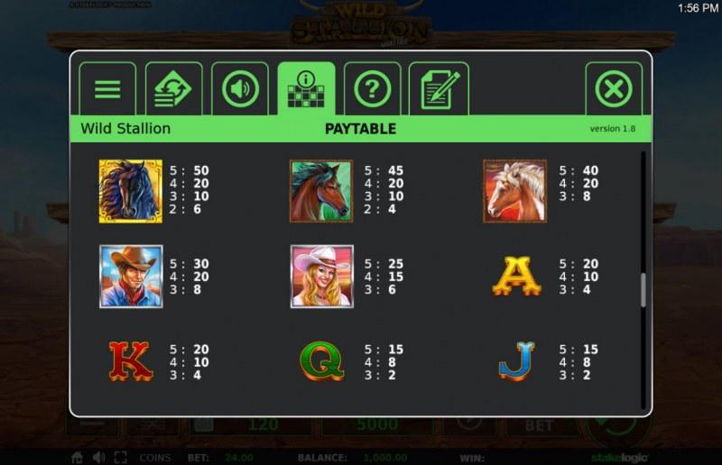 Wild Stallion :: Paytable