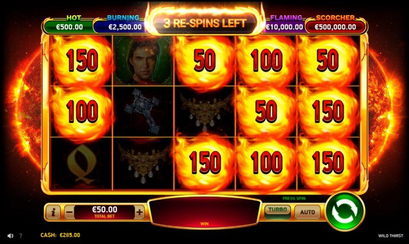 Wild Thirst :: Spin the reels for a chance to land more firecatcher symbols
