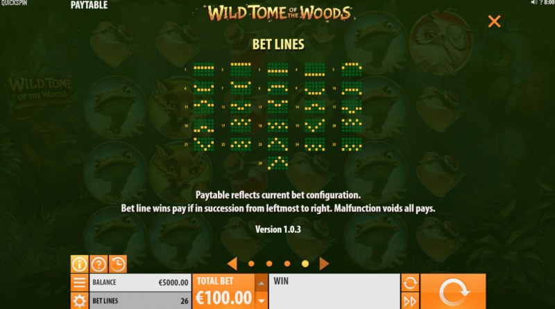 Wild Tome of the Woods :: Paylines 1-26