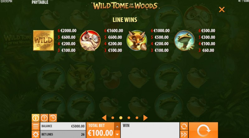 Wild Tome of the Woods :: Paytable - High Value Symbols
