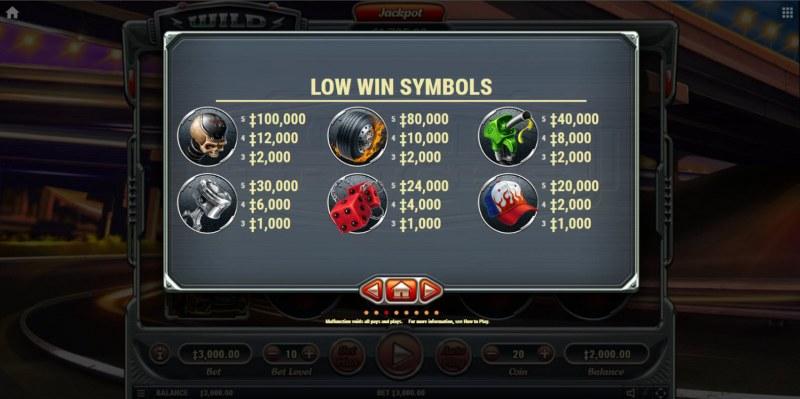 Wild Trucks :: Paytable - Low Value Symbols