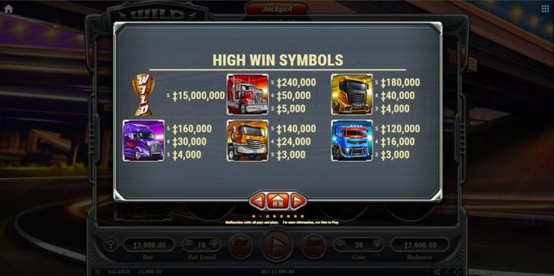 Wild Trucks :: Paytable - High Value Symbols