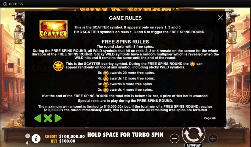 Wild West Gold :: Free Spins Rules