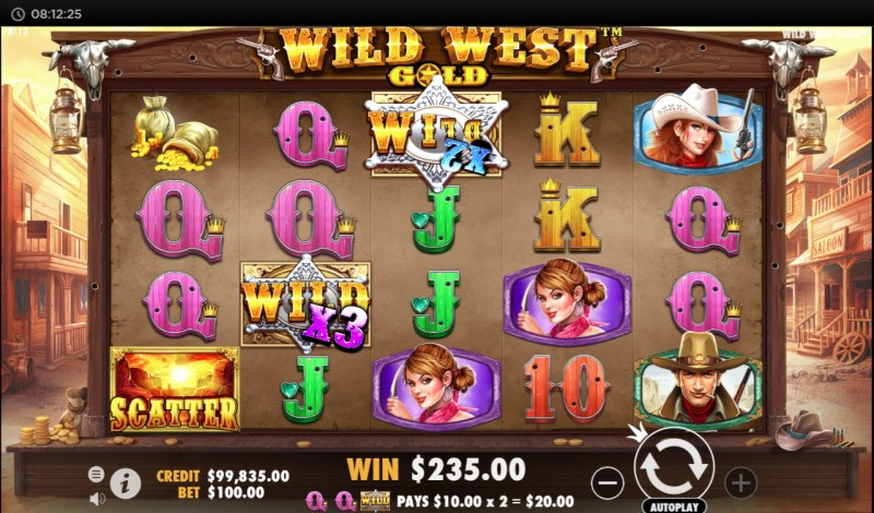 Wild West Gold :: Multiple winning combinations with wild multipliers