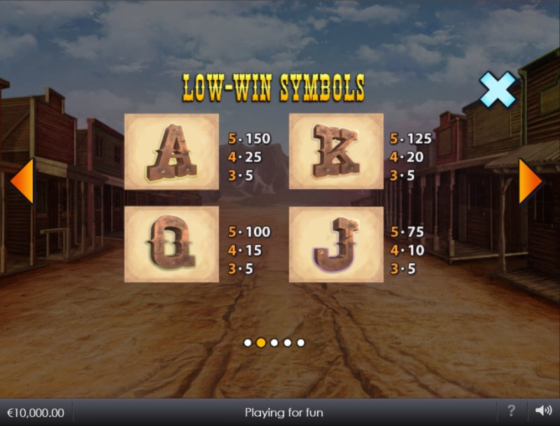 Wild West Wilds :: Paytable - Low Value Symbols