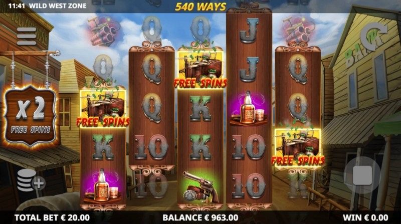 Wild West Zone :: Scatter symbols triggers the free spins feature