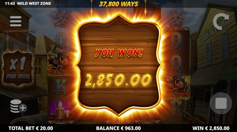 Wild West Zone :: Total free spins payout