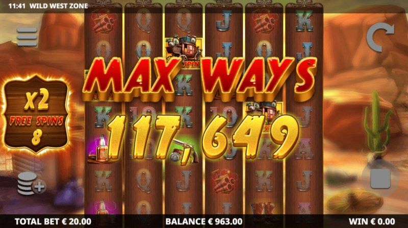 Wild West Zone :: Max Ways active during the free spins feature