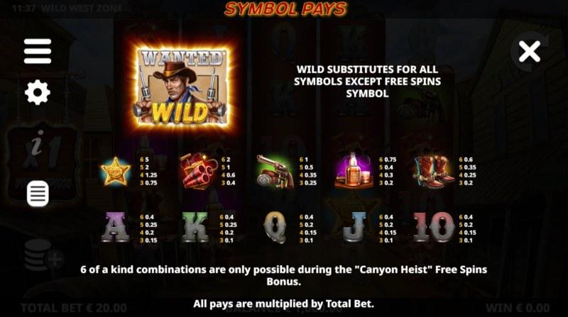 Wild West Zone :: Paytable