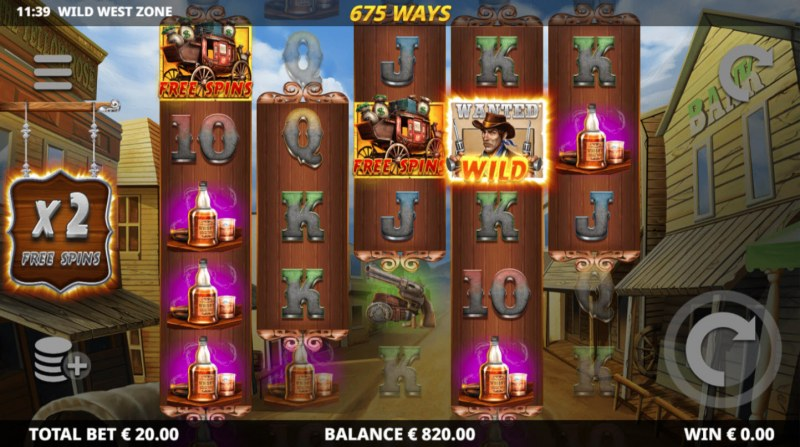 Wild West Zone :: Landing a wild symbol within the dynamic ways zone triggers the respin feature