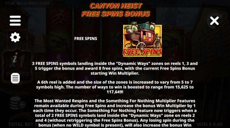 Wild West Zone :: Canyon Heist Free Spins