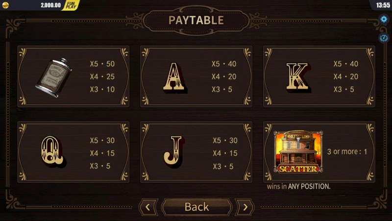 west Wild :: Paytable - Low Value Symbols