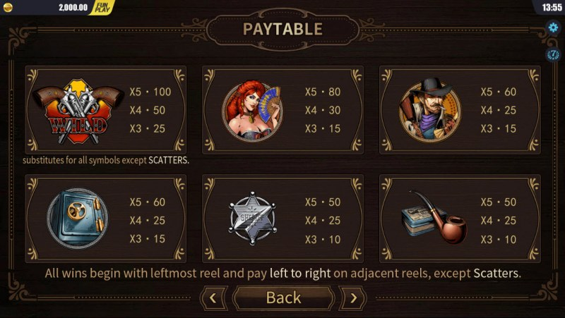 west Wild :: Paytable - High Value Symbols