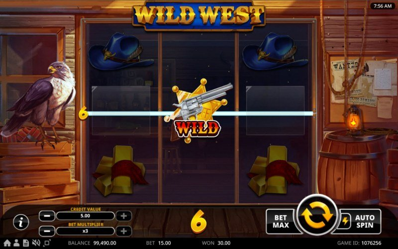 Wild West :: Wild doubles payout when substituting