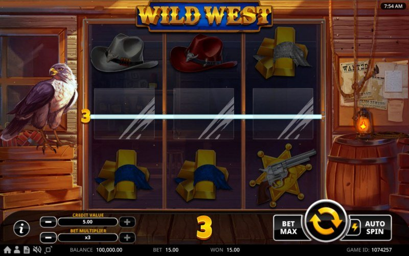 Wild West :: A three of a kind win
